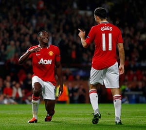 Champions League Tuesday: Danny Welbeck and Ryan Giggs celebrate after Welbeck scored against Basel