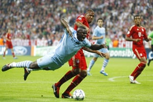 Champions League Tuesday: Man City's Micah Richards is sent sprawling by Bayern's Jerome Boateng