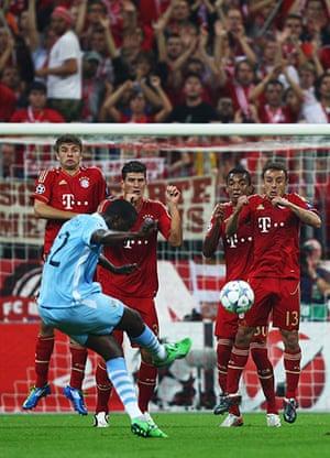 Champions League Tuesday: Yaya Toure takes a free kick against Bayern Munich