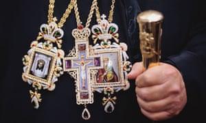 Greek Orthodox Priest Wearing Religious Medallions