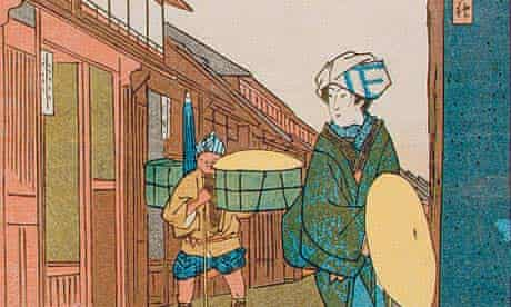 Woman Traveller, woodcut by Ando Hiroshige