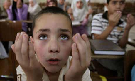 Palestinian children at the Koran Centre of a mosque