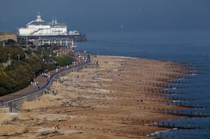 Hot weather in the UK: Enjoying the warm weather on Eastbourne beach