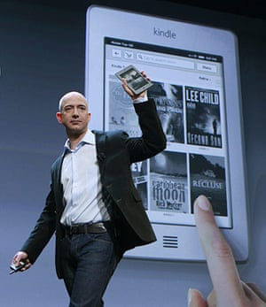 Kindle Fire: Amazon CEO Jeff Bezos holds up the new Kindle Touch