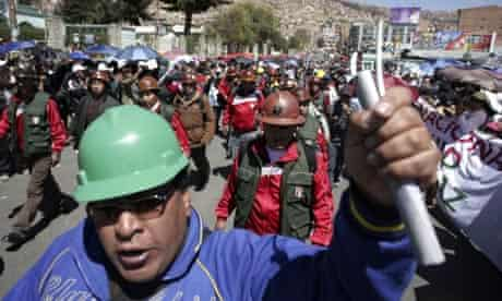 Bolivian miners protest in La Paz against the Amazon jungle highway and crackdown on protesters