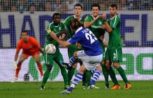Europa League: Christian Fuchs scores from a free kick for Schalke against Maccabi Haifa