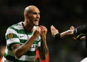 Europa League: Celtic's Daniel Majstorovic argues with the referee