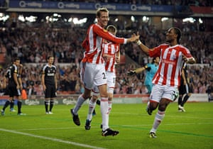 Europa League: Peter Crouch celebrates after equalising for Stoke City
