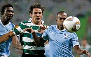 Europa League: Sporting Lisbon's Anderson Polga & Lazio's Abdoulay Konko vie for the ball