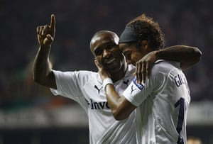 Europa League: Jermain Defoe celebrates with Giovani dos Santos