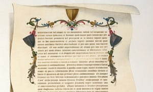 A detail from a facsimile of the Magna Carta by J Harris.