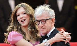 Lea Seydoux puts her arms around Woody Allen's shoulders