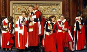 Members of the House of Lords wait in th