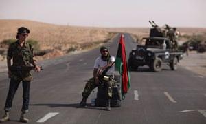 Libyan rebels at a checkpoint near Bani Walid