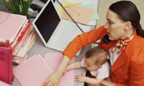 Woman and baby reaching for file folders