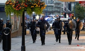 Police during the riots in Manchester
