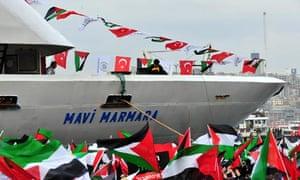 Turkish ship Mavi Marmara arrives at Istanbul's Sarayburnu port