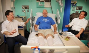 Nick Clegg and David Cameron meeting a hip operation patient