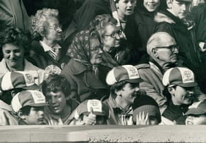 Archives Awareness: Football fans at a schoolboy international match in March 1985.