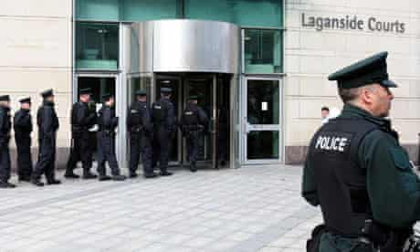 Police outside Langanside court in Belfast
