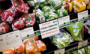 Fukushima nuclear accident: supermarket signs declaring radiation safety