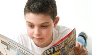 Child reading a comic