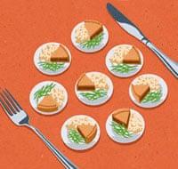 Oliver Burkeman illustration: food portions on table