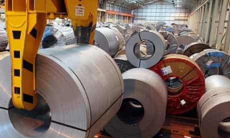 Rolls of steel in a Wolverhampton warehouse