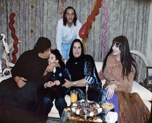 Gaddafi family photos: Muammar Gaddafi with Hannibal Gaddafi, Safiya Farkash