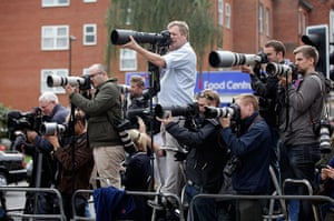 Funeral of Mark Duggan: Photographers and members of the press work behind a barrier