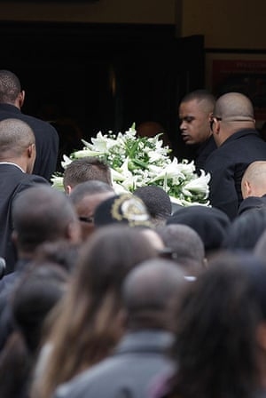 Funeral of Mark Duggan: Friends and family carry the coffin