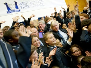 West London Free School: Boris Johnson surrounded by children at the school