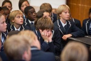 West London Free School: A pupil during Boris Johnsons speech