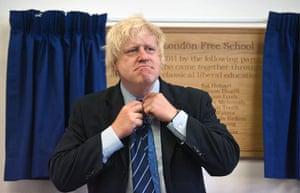 West London Free School: Boris Johnson adjusts his new school tie