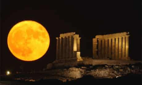 A supermoon rises in Greece