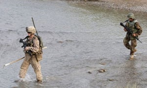 US marines in Afghanistan. There have been 19 foreign soldiers killed by Afghan troops this year