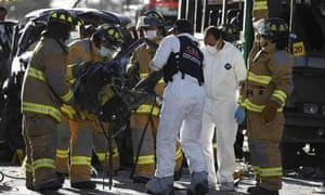 Emergency workers after the Bogota bombing