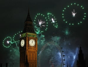 New year celebrations: Fireworks light up the London skyline and Big Ben just after midnight
