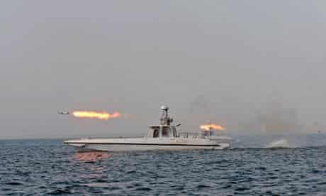 Iranian warship fires a missile during naval exercises 30/12/11