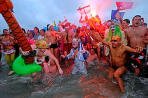 New Years day swimmers: People take part in a traditional sea swim at Malo-Les-Bains beach