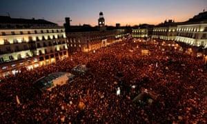 Thousands of demonstrators in Madrid's Puerta del Sol