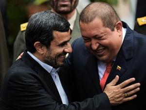 Ahmadinejad visits Chávez: Hugo Chavez and Mahmoud Ahmadinejad