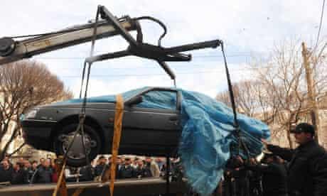 The car belonging to Iranian nuclear scientist Mostafa Ahmadi-Roshan