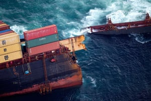 Rena breaks up: The grounded container ship Rena after it broke in two in a storm