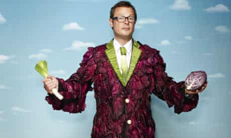 Hugh Fearnley-Whittingstall in a coat of vegetables