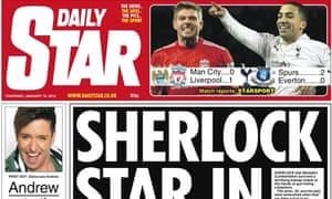 The Daily Star's front page story on Sherlock's Benedict Cumberbatch