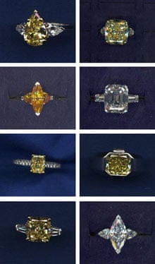 Some of the jewellery items reported stolen from Graff Diamonds