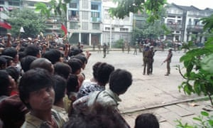Troops and protesters during Burma's 1988 pro-democracy uprising