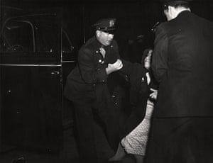 Weegee exhibition: The dead man's wife arrived, by Weegee