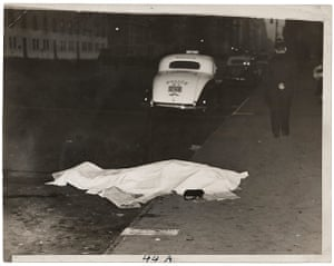 Weegee exhibition: Girl jumped out of car, by Weegee